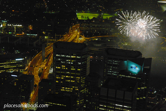 darling harbour sydney tower fireworks white