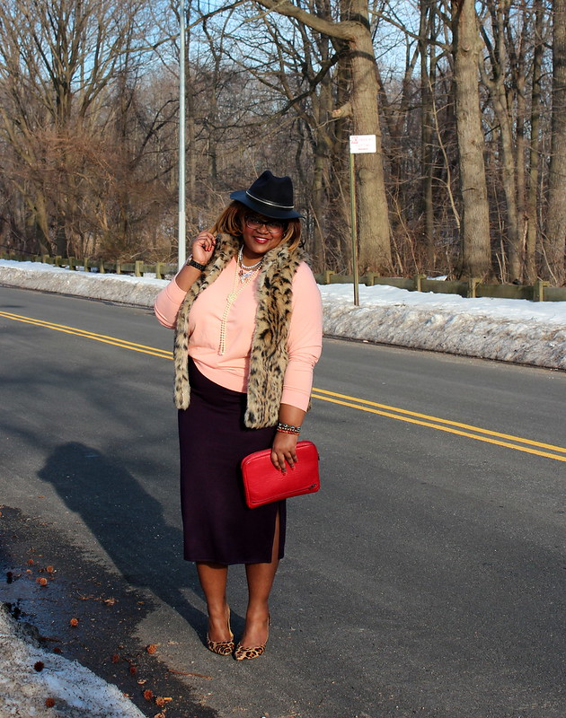 leather+hat+leopard+fur+vest+pencil+skirt+leopard+pumps