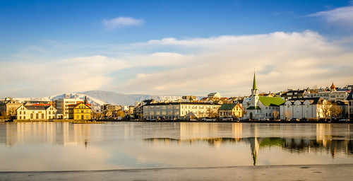 reflection sunrise reflections iceland pond nikon cityscape fav50 reykjavik fav10 fav25 d7000 nikond7000