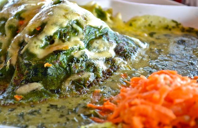 Chaya and Chicken crepe  - la danta restaurant, flores restaurant