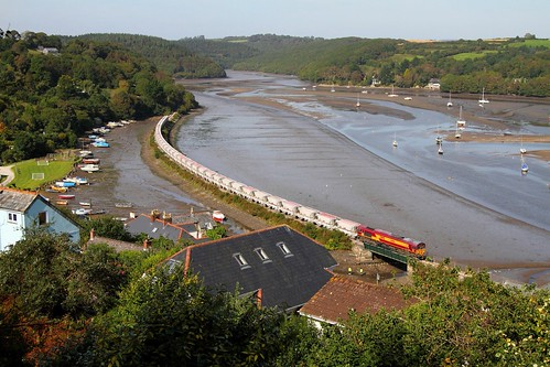 66156 Golant skirting the River Fowey with China Clays in Cornwall September 2012