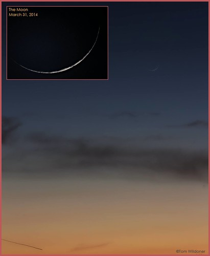sunset moon night canon evening march crescent astrophotography astronomy nightsky thin waxing meade 2014 waxingcrescent skyglow tomwildoner