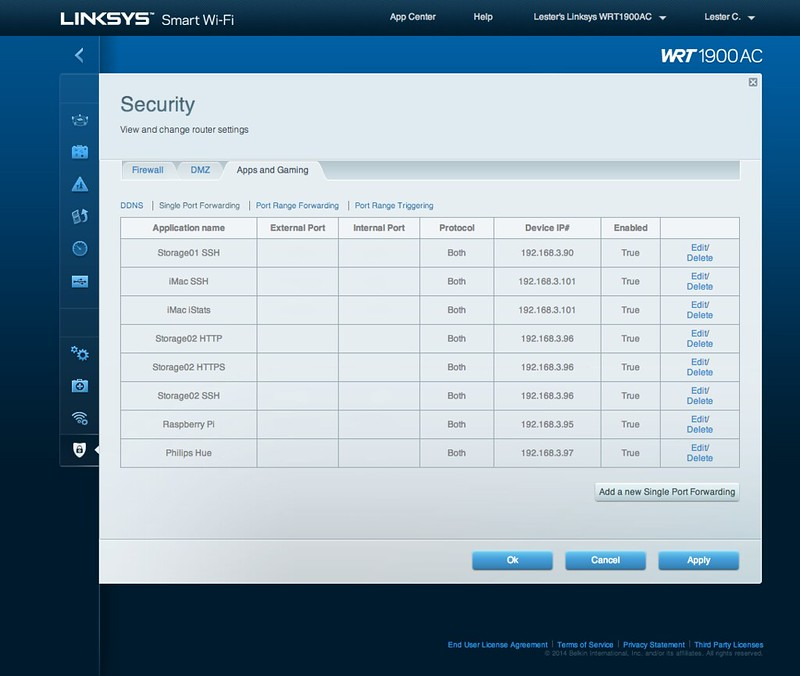 Linksys Smart Wi-Fi - Security - Single Port Forwarding