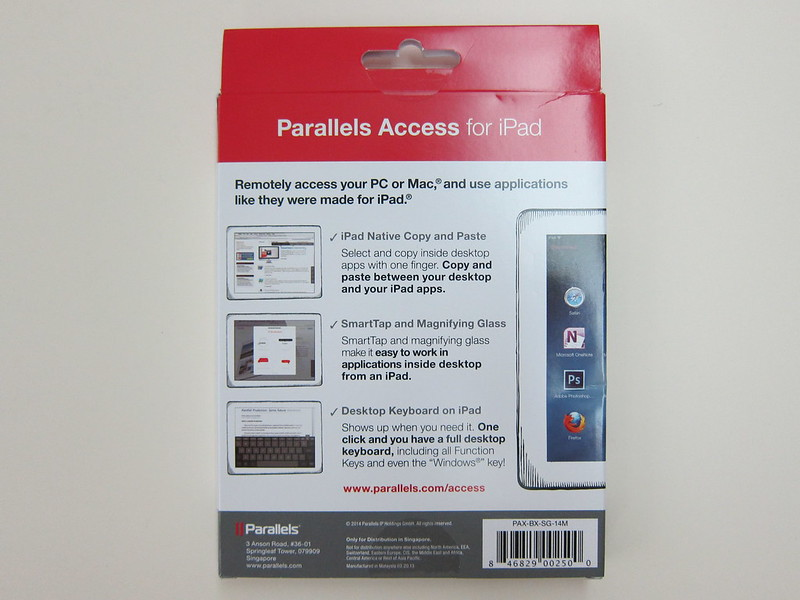 Parallels Access for iPad - Box Back