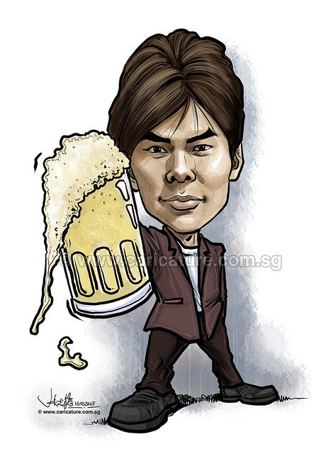 digital Ryan Thong caricature with beer for Property Guru