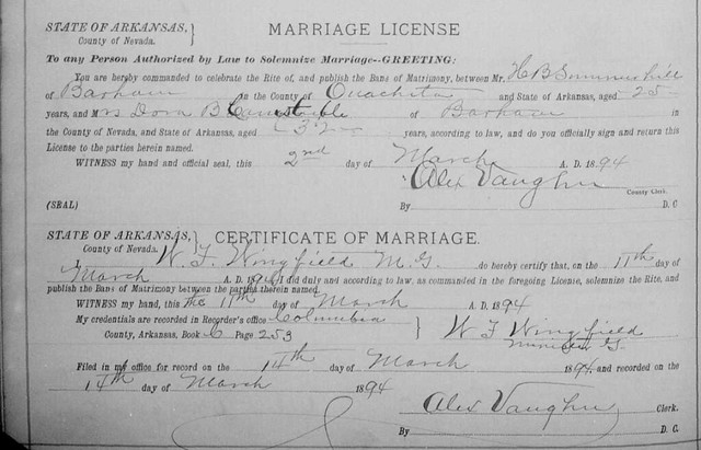 Marriage License Summerhill-Cornstuble