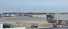 This picture is all about the distant view from Gate 35 at DCA: National Cathedral on the left, Washington Monument on the right.