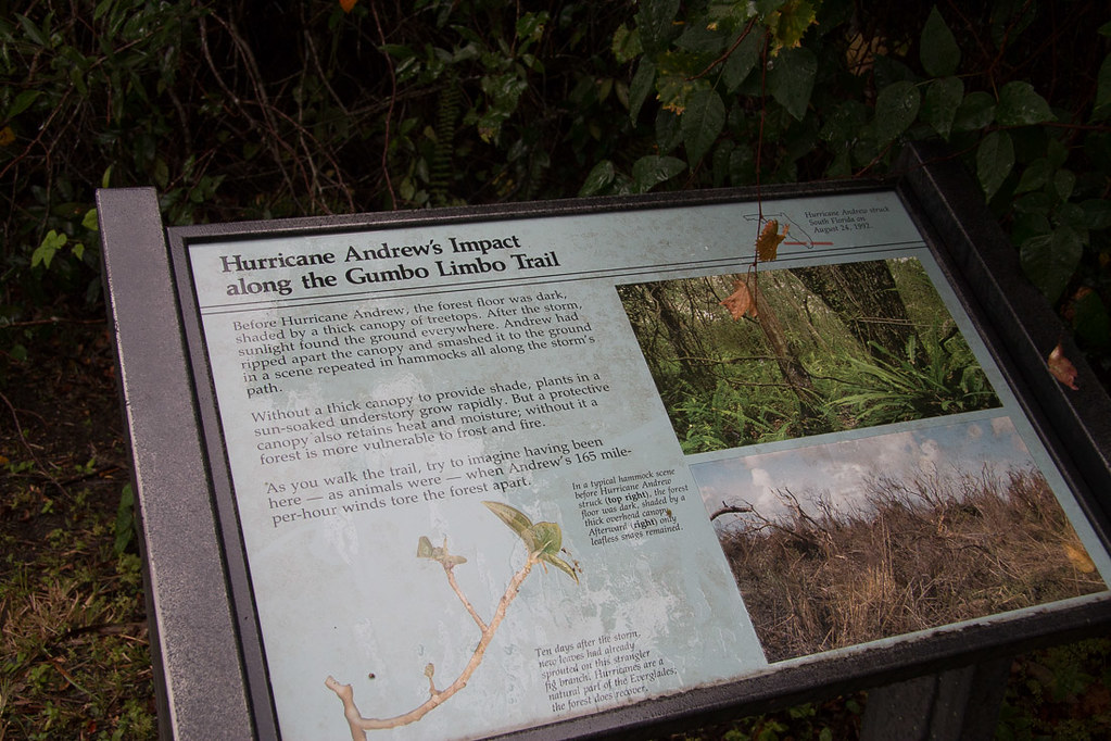 Sign explaining Hurricane Andrew's impact
