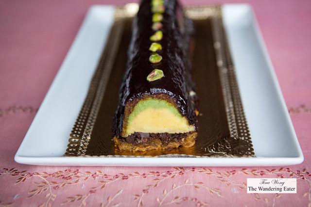 Pistachio, yuzu, chocolate feuilletine cake