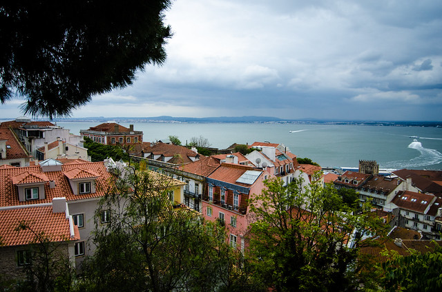 A view of the River Tagus from high in the hills of Lisbon, at St. George's Castle.