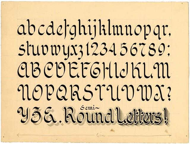 Zaner design for penmanship manual -- Semi-Round Letters