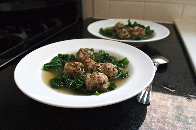 Pork balls in broth
