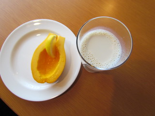 Hotel breakfast - papaya and soymilk