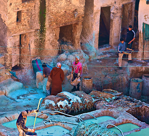 Traditional tanneries in Fez by Capitano Dick