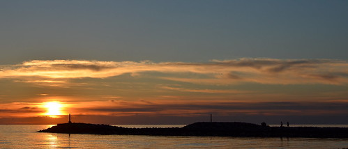 sunset sea nature landscape breakwater latvija salacgriva