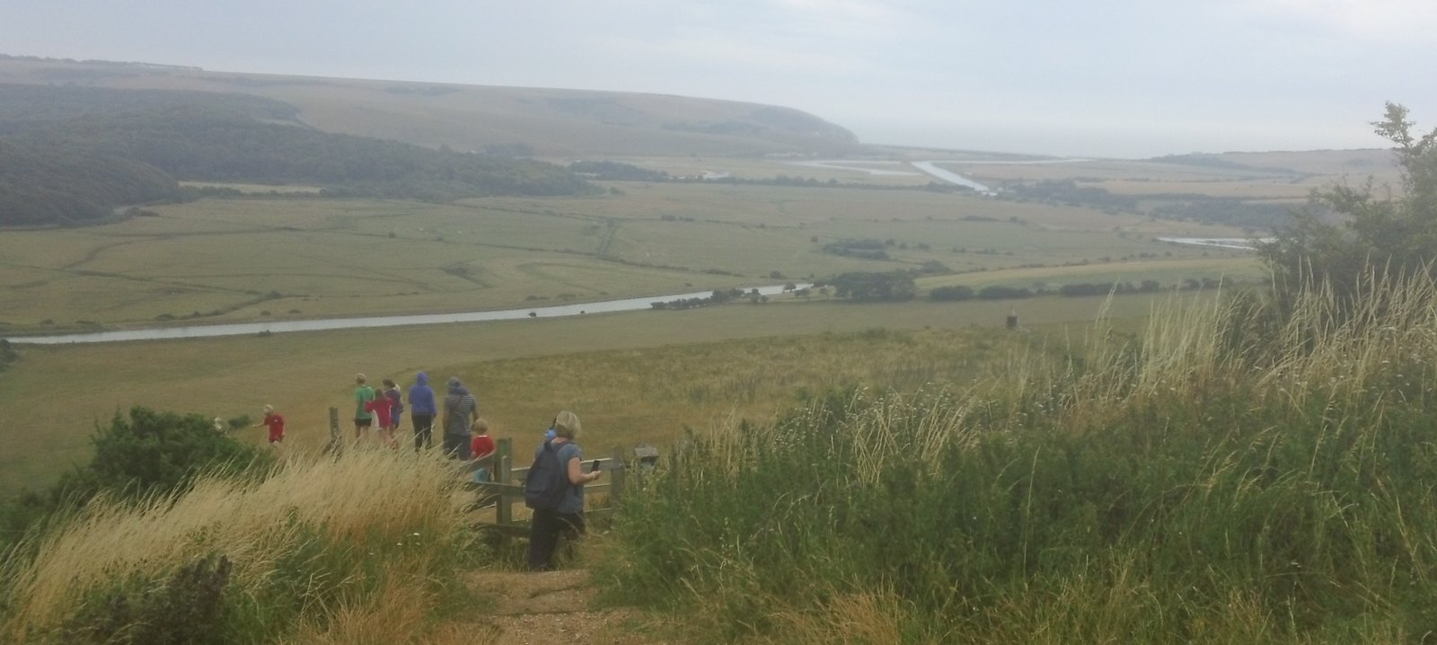 Cuckmere river & Exceat Gap viewed on descent from White Horse