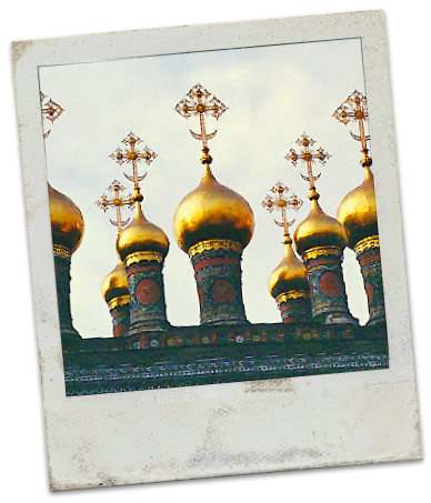 Golden domes of a church, Moscow 1996 モスクワ、教会の金色な玉ネギドーム
