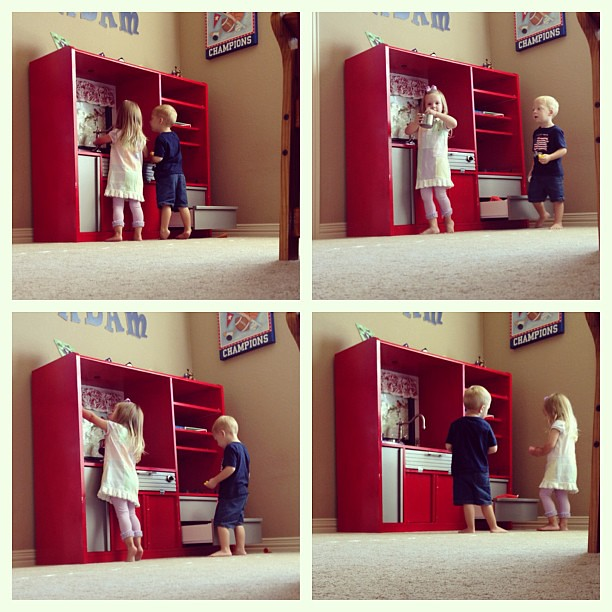 Spying on Owen and his friend Sophie as they play with the toy kitchen. They are being unbelievably cute!