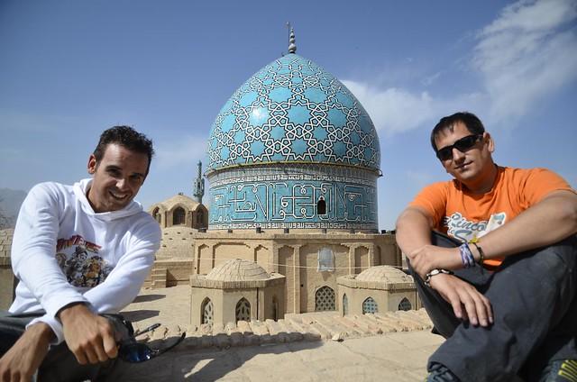 Isaac y yo en Mahan, ciudad del sur de Irán