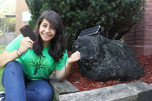 Locke IB student with her Voltaic solar panel.  © Brad Parker