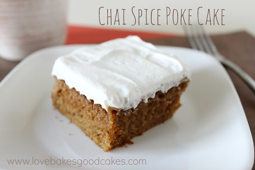 Chai Spice Poke Cake on plate with fork.