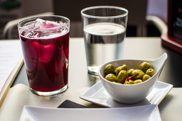 Tinto al Limon and olives at La Azotea in Seville, Spain