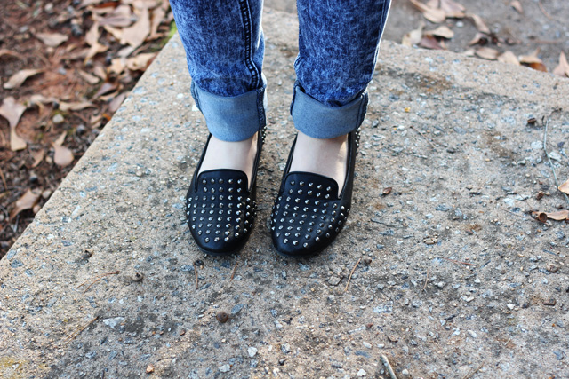 Studded Black Loafers