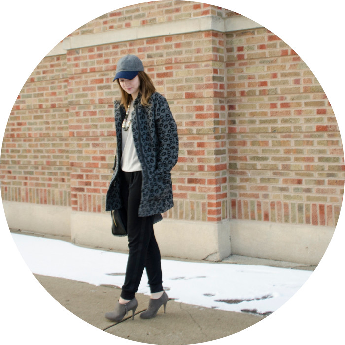 winter outfit, j.crew baseball hat, wayf track pants, crepe sweatpants, gray suede ankle boots, old navy leopard blanket coat, winter neutrals, dash dot dotty