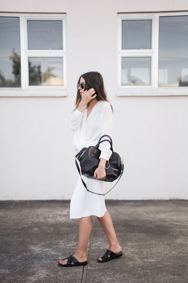 modern legacy fashion street style blog australia Christopher Esber flip split midi skirt drape blouse Witchery Alexander Wang Chastity chain tote bag slide sandals white on white (4 of 9)