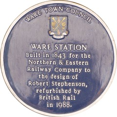 Photo of Robert Stephenson and Ware railway station blue plaque