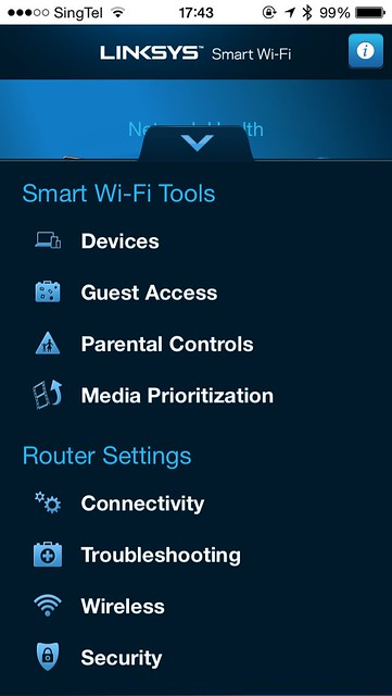Linksys Smart Wi-Fi iOS App - Options