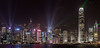 Hong Kong Skyline - at night during the 8PM light show. by prayforsnow