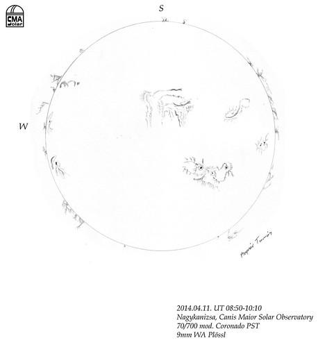 H-alpha Sun – 2014.04.07. – Bognár Tamás