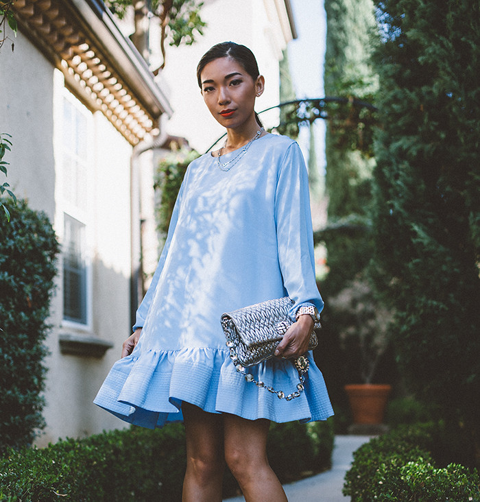 Stephanie Liu of Honey and Silk wearing Cynthia Rowley Exaggerated Flounce Dress