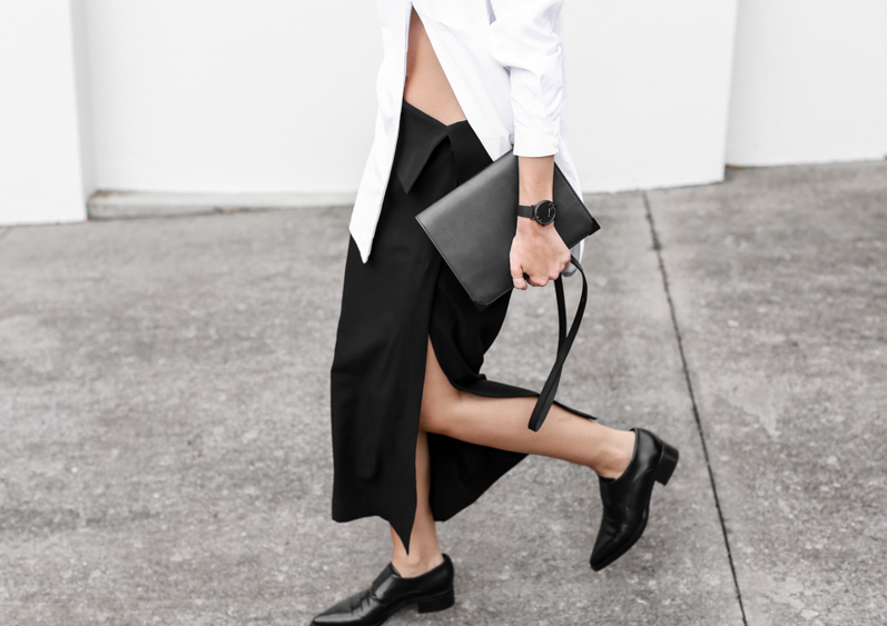 MODERN LEGACY fashion blog street style black and white oversized shirt Dion Lee split midi skirt Stella Mccartney Frankie loafers workwear (1 of 1)-2