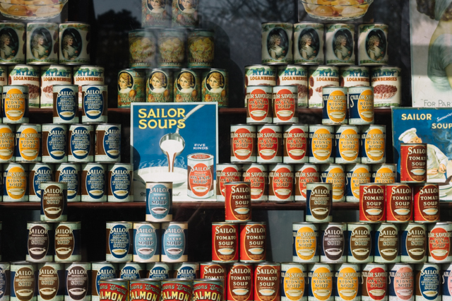 soup tins in shopfont, st fagans