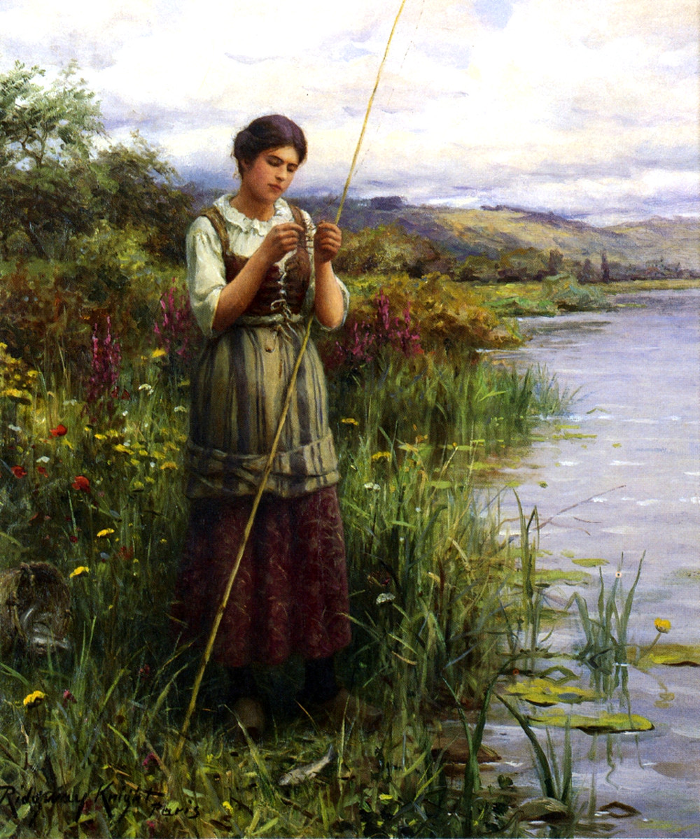 Baiting the Hook by Daniel Ridgway Knight