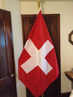 Flag of Switzerland - Cotton - printed - 4'x4' (yes the true square shape!) - roped header with clips