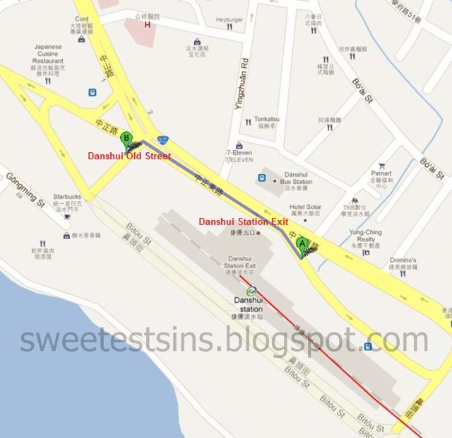 danshui station to danshui old street directions map english