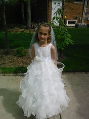child, veil, bridal clothing, bridal veil, dance dress, gown, clothing, flower girl, wedding dress, person, dress,