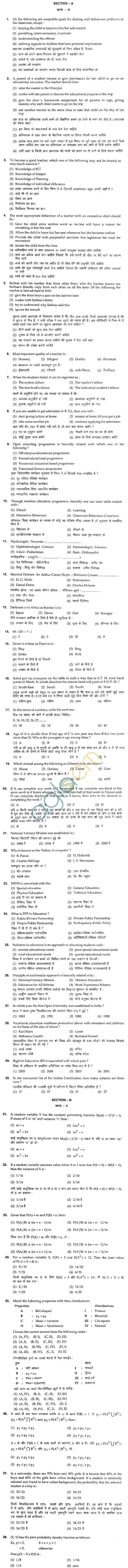 BHU UET 2012 B.Ed Math Question Paper