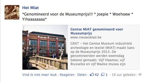 Facebook MIAT nominatie museumprijs yihaaaa
