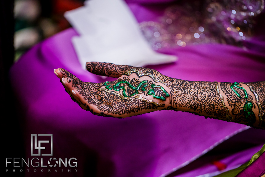 Close up of Indian bride's henna details