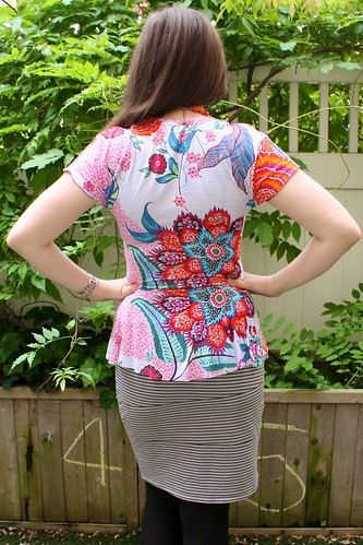 Back view of Cake Patterns Hummingbird Peplum Top—in hummingbird colors