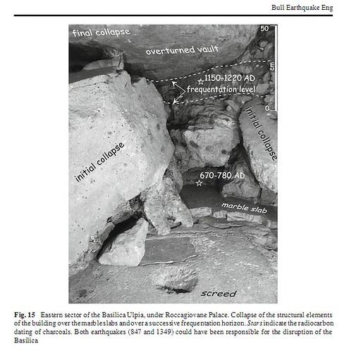 ROMA ARCHEOLOGIA: F. di Traiano – Pal. Roccagiovane: [Roma, terremoto di] (ca. 847 & 1349 A.D.); in: La Regina A, Scaroina, L (2012), Resti della basilica Ulpia sotto il pal. Roccagiovine. In: BSR, 28/11/2012 (in press). P. Galli   Academia.edu (12/2012).