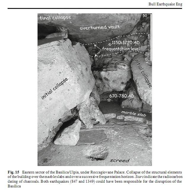 ROMA ARCHEOLOGIA: F. di Traiano – Pal. Roccagiovane: [Roma, terremoto di] (ca. 847 & 1349 A.D.); in: La Regina A, Scaroina, L (2012), Resti della basilica Ulpia sotto il pal. Roccagiovine. In: BSR, 28/11/2012 (in press). P. Galli | Academia.edu (12/2012).