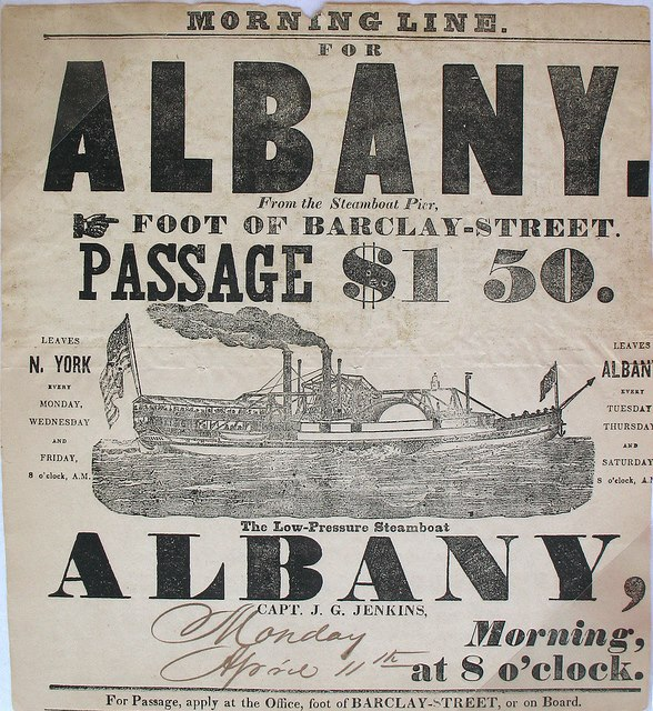 Morning line  steamboat  albany ny early 1800s