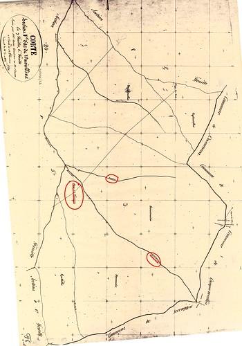 Cadastre Napoléonien 1880 avec le secteur des bergeries de Furmicuccia dans le vallon de Bravinu