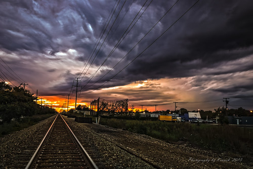 railroad sunset summer sky weather clouds nikon michigan traintracks urbansunset