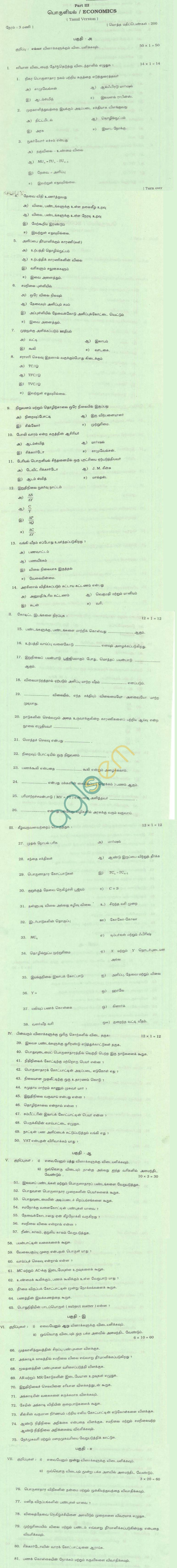 TN Board Higher Secondary (Plus 2)EconomicsQuestion PapersMarch 2011